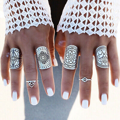 Hot Women 4PCS Vintage Gypsy Boho Carved Totem Antique Silver Plated Midi Rings