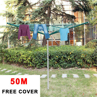 4 Arm 50M Durable Rotary Washing Line Ground Socket Airer Clothes Dryer + Cover