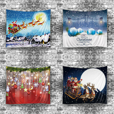 Santa Claus Elk Christmas Tapestry Fabric Wall Hanging Bedspread Home Decor