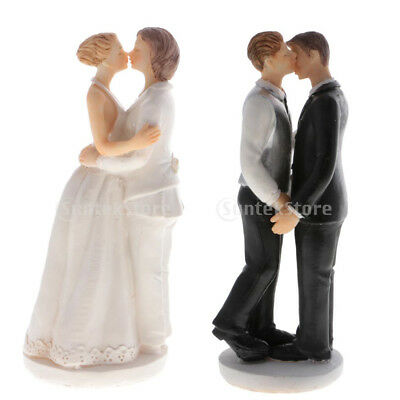 Romance Gay Lesbian Couple Wedding Cake Topper Same Sex Grooms Brides Figurines
