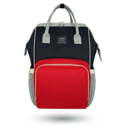 LAND Fashion Nappy Mummy Backpack Diaper Bag Baby Newborn Shoulder Bag-BlackRed