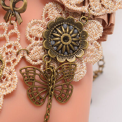 Victorian Lace Cuff Vintage Gothic Steampunk Floral Butterfly Bracelet With Ring