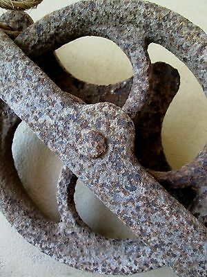 "PULLEY What is it? Rusty Vintage 10"" Cast Iron Pulley with BOLTS tool"