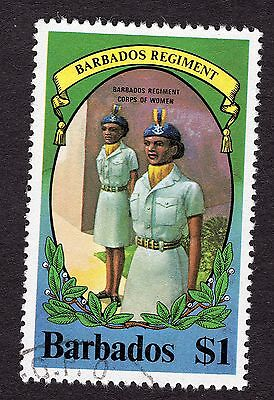 1980 Barbados 1$ Regiment womans corps SG658 FINE USED R31333