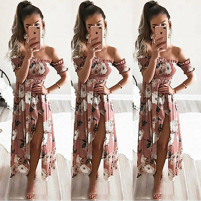 US Fashion Women Summer Boho Floral Beach Dress Evening Cocktail Long Maxi Dress