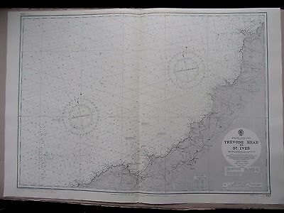 "1969 CORNWALL TREVOSE HEAD to ST IVES - ADMIRALTY MAP Sea Chart 28"" x 41"" A09"