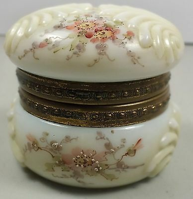 Signed Wavecrest Embossed Shell Design Dresser Box W/ Hinged Lid & Flower Decora