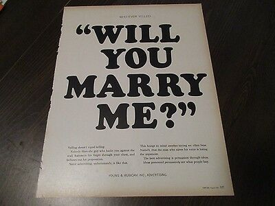 Young and Rubicam - Will You Marry Me - Marriage Proposal - 1961 Print Ad