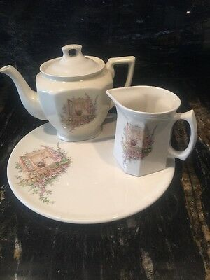 Vintage Coors Thermo Porcelain Open Window TeaPot,Creamer,Cake Plate