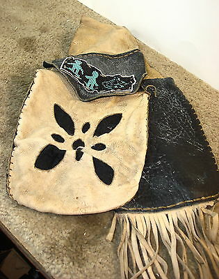 Fancy Leather Beaded Belt Pouch Reenactor, Pow Wow Indian Festival Mountain Man