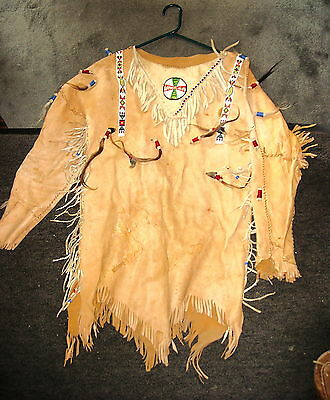 Leather Pull-over shirt Fancy Beaded Reenactor, Pow Wow Indian Festival