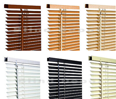 PVC Venetian Blinds Window Blind In Black Cream White Or Wooden Grain Effect