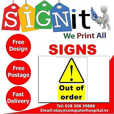 Out Of Order Sticker, Correx Plastic Or Aluminium Sign - G0011