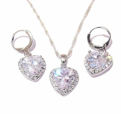 Bridal Heart Crystal Pendant CZ Fashion Silver Necklace Earrings Jewelry Set
