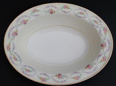 Edwin M. Knowles Pink Garland Semi Vitreous Oval Serving Bowl Floral Gold Rim