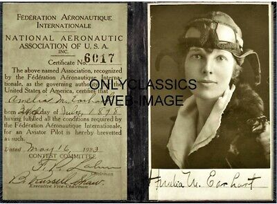 '23 Aviatrix Amelia Earhart Aviation Airplane Pilot License-Signature 8X10 Photo