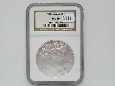 2005-P American Eagle 1oz Silver Dollar Coin - NGC MS 69