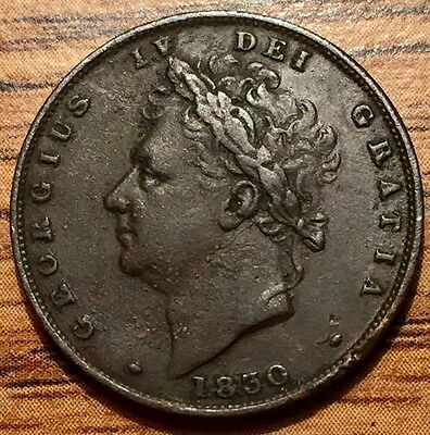 1830 Great Britain Farthing Seated Britannia King George IV Coin - XF