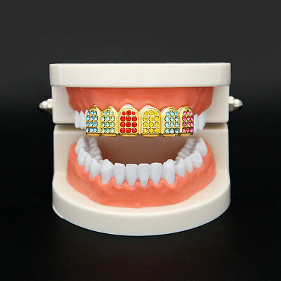 Custom Fit Hip Hop Grillz Colorful CZ Bling Top Grillz Cap Gold Plated Fashion