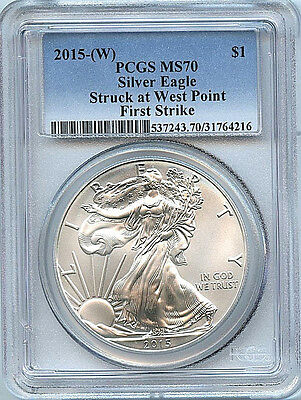 2015 W Silver American Eagle Dollar PCGS MS70 Coin First Strike West Point C48