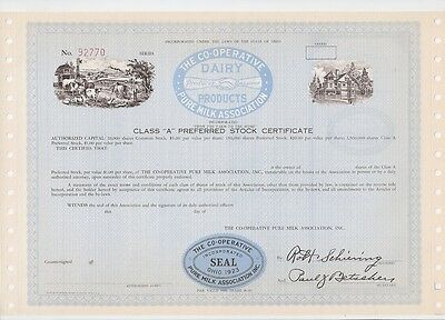 The Co-Operative Pure Milk Association....unissued Stock Certificate