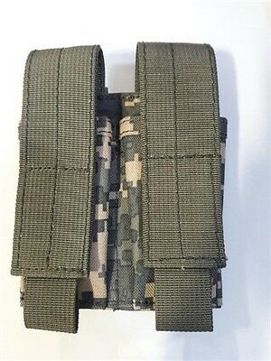 "Double MOLLE II""Universal Camo"" ACU 9MM/45cal Pistol MAG POUCH,Sgl/Dbl Stack"