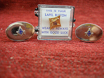 Vintage Anson Masonic Cuff Links + Lapel Stud - Nice Collectibles