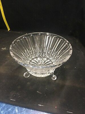 Vintage Decorative Pressed Glass Footed Trinket Dish