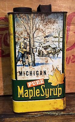 Vtg 40s 50s Pure Michigan Pure Maple Syrup Tin Can One Gallon w/ Lid 11 Lbs