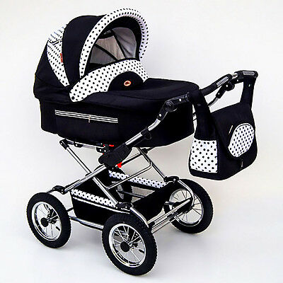 Classic Pram 08 Stroller Pushchair for Baby 2 in 1 Travel System Pumped Wheels