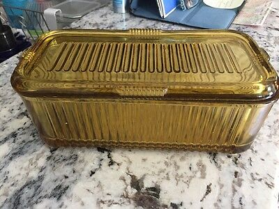 Vintage Amber Glass Federal Ribbed Refrigerator Dish with Lid Vertical Lines