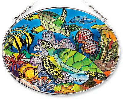 "SEA TURTLES Sun Catcher Tropical Fish Reef AMIA Hand Painted Glass 6.5""x9"" New"