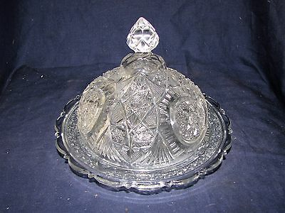 Vintage EAPG Glass Crystal Round Covered Butter Cheese Dish w/Domed Lid