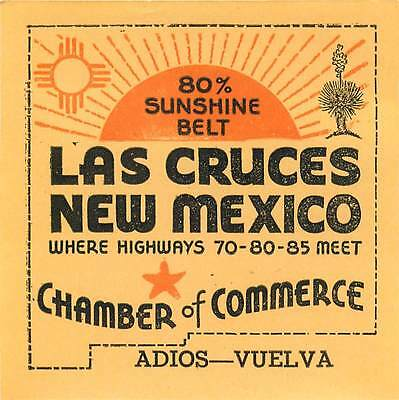 Las Cruces New Mexico Vintage Travel Baggage Luggage Label