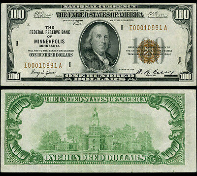 FR. 1890 I $100 1929 Federal Reserve Bank Note Minneapolis Very Fine+