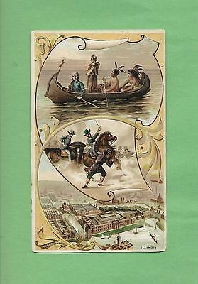 NATIVE AMERICANS, PIONEERS, ILLINOIS On ARBUCKLE COFFEE #36 Victorian Trade Card