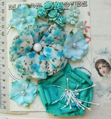 TURQUOISE, CELESTE BLUE & WHITE 13 Flowers 5 Tones PAPER & SILK 15-70mm VA7