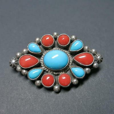 Navajo Geneva Apachito Sterling Silver Turquoise Coral Cluster Brooch Pin Signed