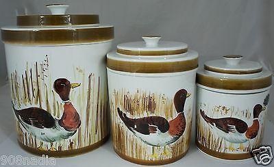 Vintage Cookie Jar/canister W/lid Set 3 Duck Hand Painted Italy Made Rare