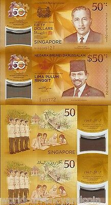 2017 SINGAPORE & BRUNEI 50 DOLLARS X 2 NOTE CIA 50th COMMEMORATIVE POLYMER UNC