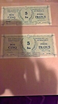 2 New Hebrides, 5 Francs, ND (1943), WWII,  VF +> Rare  NOTES  04222 & 06085