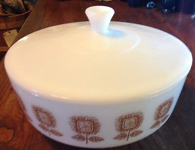 Vintage Federal Glass  3.5 Quart Brown Sunflower Casserole Dish With Lid Euc