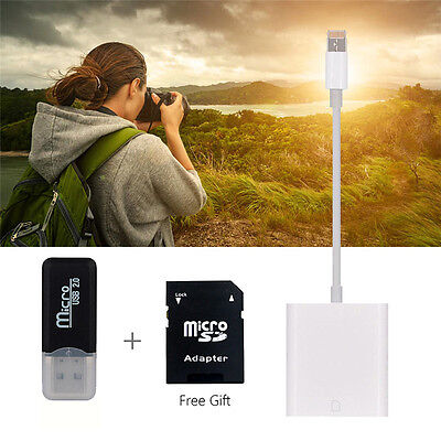 OTG SD Card Camera Reader USB Adapter Memory Cable for iPhone 7Plus 6S w/Adapter