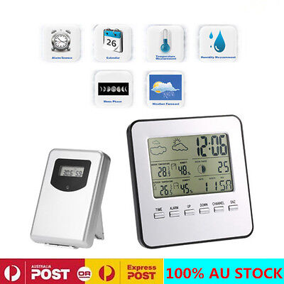 Wireless  LCD Digital Weather Station Temp Thermometer Alarm Clock with Sensor