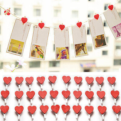 50Pcs Beautiful Mini Love Heart Wooden Clips For Photo Paper Clothespin Craft