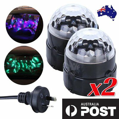 2/5 x RGB DJ LED Effect Rotating Light Laser Crystal Magic Ball Disco Party Club
