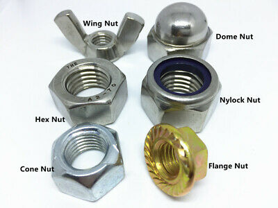 Metric Hex Nuts Nylock Nuts Flange Nuts Dome Nuts Wing Nut Cone Nut 5/20/50pcs