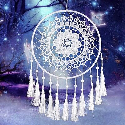 Handmade Lace Flower Dream Catcher Wall Hanging Home Car Decor Craft White TW