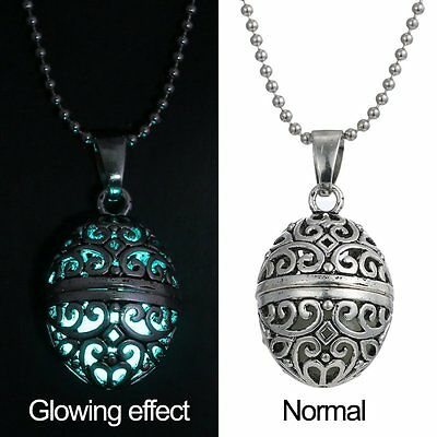 Hot Magic Egg Oval Locket Glow in the Dark Oil Diffuser Pendant Necklace Jewelry