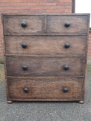 Edwardian antique Arts & Crafts solid fumed oak bedroom chest of 5 drawers